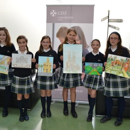 Alumnas del Colegio CEU Sevilla participan en XXVI Concurso Patrimonio Nacional de Pintura